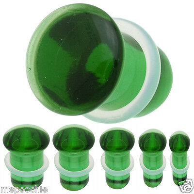 Plugs Pair of Single Flare Emerald Glass 8G to 00G