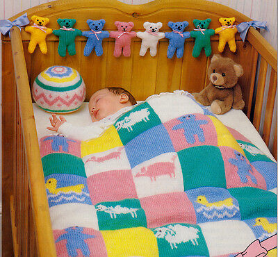 Baby Accessories To Knit -Animal Cot Blanket-Teddy Mobile-Tidy Bag - Matinee Set