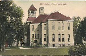 High-School-Lake-Mills-Wisconsin-WI-Postcard-1911