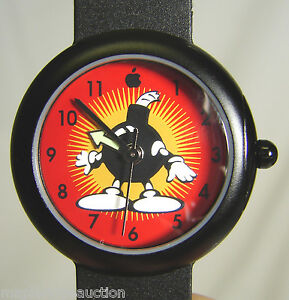 NEW-Vintage-Apple-Computer-Logo-BOMB-Watch-c-1998-Youth-Kids-Black-Strap