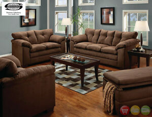 Luna Chocolate Sofa & LoveSeat Casual MicroFiber Living Room Set ...