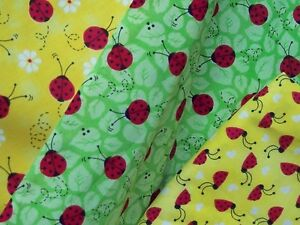 KOOL-BEETLES-LADYBUGS-100-Cotton-fabric-red-BUGS-on-floral-leaf-backgrounds