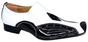 Mocasines Sin Fiesta Gángster Blanco Hombre Negro Cordones Elegante 8Eq5wx5F