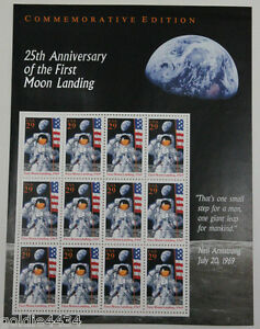 1994-USA-Stamps-25th-Anniversary-FIRST-Moon-Landing-NIEL-ARMSTRONG-Mini-Sheet
