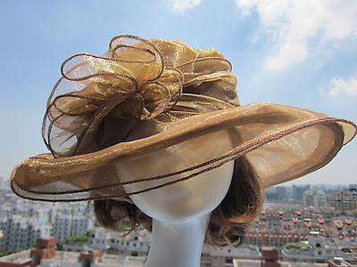 Women Dress Church Wedding Kentucky Derby Wide Brim Hat 8 color Organza A002