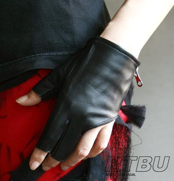 Genuine Leather Lambskin Sheepskin Punk Rocker Biker Dancer Fingerless Zip Glove
