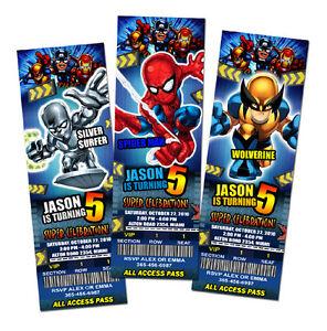 Super hero squad birthday party invitation ticket spiderman custom image is loading super hero squad birthday party invitation ticket spiderman stopboris Images