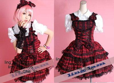 Sweet LOLITA QUENNY GOTHIC PUNK Cute RED Plaid DRESS+Shirt+Headdress S~L