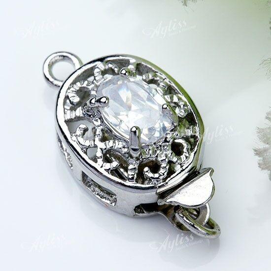 5pcs White Crystal Class Rhinestone Hollow Box Clasp Hook Jewelry Finding Beads