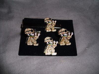 Desert Fighting Coldstream Guards Cufflink, lapel pin+tie slide set, Household