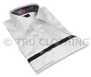 Mens-Italian-Design-White-Silk-Satin-Finish-Shirt-Smart-Slim-Fit