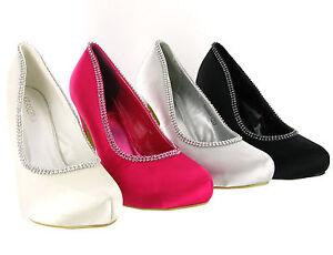 Womens-High-Stiletto-Heels-Platform-bridal-Diamante-Party-Court-Shoes-Size-3-8