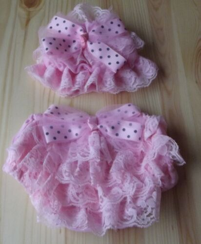 12 MONTHS BABY GIRL FRILLY LACE NAPPY COVER AND HAT SET PHOTO PROP NEWBORN
