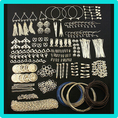 Silver Findings Kit For Jewellery Making & Beading Pins,Clasps,Chain,Crimps,Wire