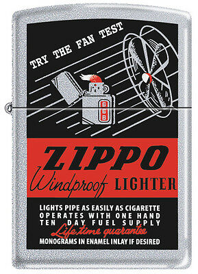 Zippo THE FAN TEST Satin Chrome Windproof Lighter Windy Girl RARE HARD TO FIND
