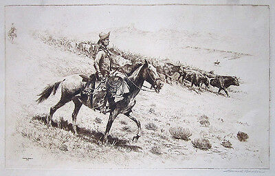 """EDWARD BOREIN Signed 1922 Original Etching/Drypoint """"Point Riders"""""""