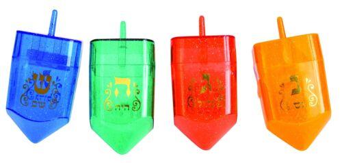4 Big Plastic FILLABLE DREIDELS......... Jewish Judaica Draidel Dreidel Hanukkah