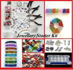 DELUXE-JEWELLERY-MAKING-KIT-BEADS-FINDINGS-PLIERS-TIGERTAIL-ELASTIC-BEADS