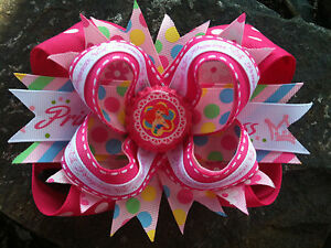 DISNEY-PRINCESS-PINK-BOTTLECAP-HAIRBOW-WITH-OPTIONS