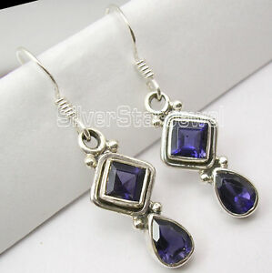 925-Silver-Facetted-IOLITE-Stone-Dangle-Earrings-3-5CM