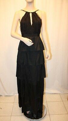 NEW BCBG MAX AZRIA BLACK BURN OUT PLEAT TIER BEADED LONG DRESS SIZE 2