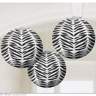 Large ZEBRA PRINT PAPER LANTERNS(3) ~ Baby Bridal Shower Birthday Party Supplies
