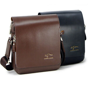 KANGAROO-Men-fashion-small-black-brown-leather-shoulder-bag-Briefcase-messenger