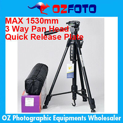 Pro FANCIER WT3730 DSLR Camera Tripod Stand 3 way Pan head 1/4″ Screw + bag NEW