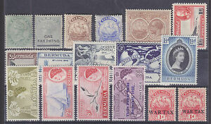 Bermuda Sc 18/MR2 MLH. 1893-1953 issues, 17 different singles F-VF