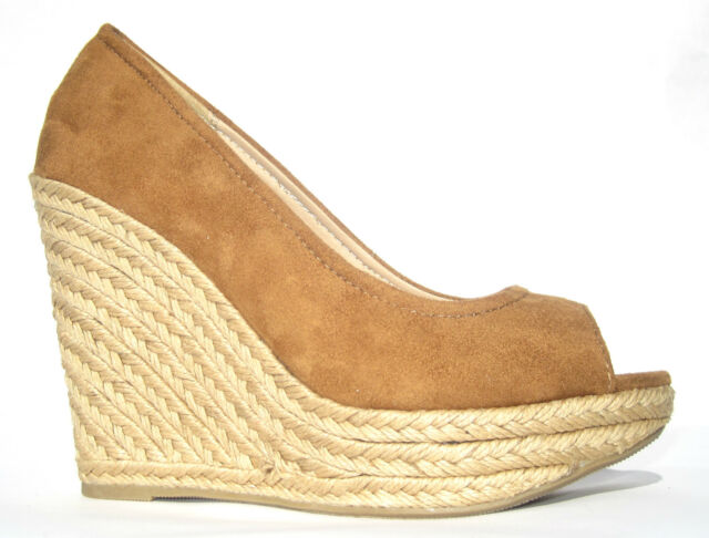 SODA ~ TAN ESPADRILLES ~  OPEN TOE WEDGE ~ MUST HAVE ESPADRILLES