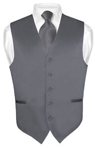 Men-039-s-CHARCOAL-GREY-Tie-Dress-Vest-and-NeckTie-Set-for-Suit-or-Tuxedo
