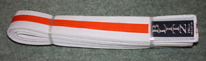 NEW Blitz 250cm white belt with orange stripe - <span itemprop='availableAtOrFrom'>Cottenham, Cambridgeshire, United Kingdom</span> - NEW Blitz 250cm white belt with orange stripe - Cottenham, Cambridgeshire, United Kingdom
