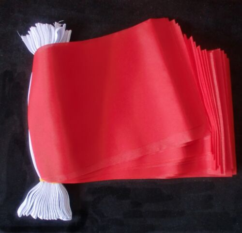 PLAIN RED BUNTING 9 metres 30 feet Polyester cloth FLAG FLAGS FREE POSTAGE UK