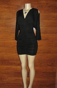 NEW-SEXY-Stylish-BLACK-Plus-Size-Batwing-Dolman-Shirring-Summer-Dress-1XL-14-16