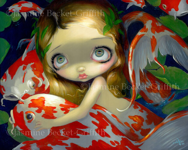 Jasmine Becket-Griffith art print SIGNED Amongst the Koi mermaid goldfish pond