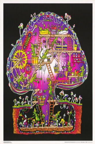POSTER:MARIJUANA THEME: MUSHROOM FACTORY - BLACKLIGHT-FREE SHIP #FL3294S  RP68 V