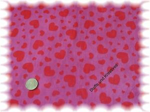 Herzchennicky-lila-rot-Nicky-Stoff-Stoffe-nahen-Meterware-Herz-Herzchen