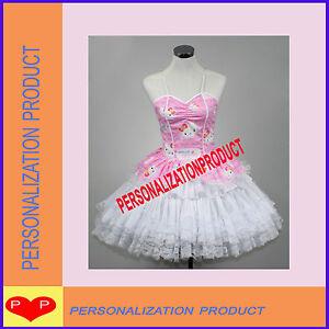 sweet gothic lolita pink cosplay hello kitty pattern 7