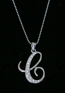 C letter initial alphabet pendant charm necklace clear crystals image is loading 034 c 034 letter initial alphabet pendant charm mozeypictures Choice Image