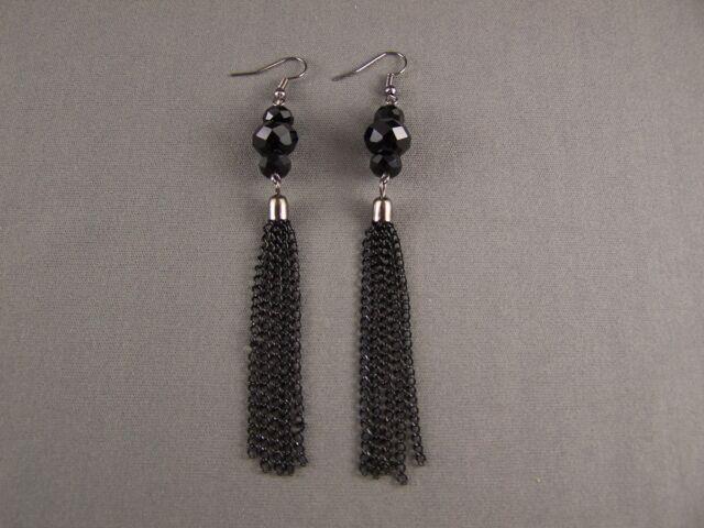 """Black faceted crystal bead 4.5"""" Long fringe tassel earrings dangle multi chain"""