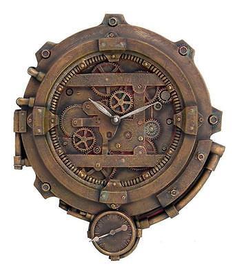 Steampunk Clockwork Gearhead Wall Clock Victorian Science Fiction Figurine Decor