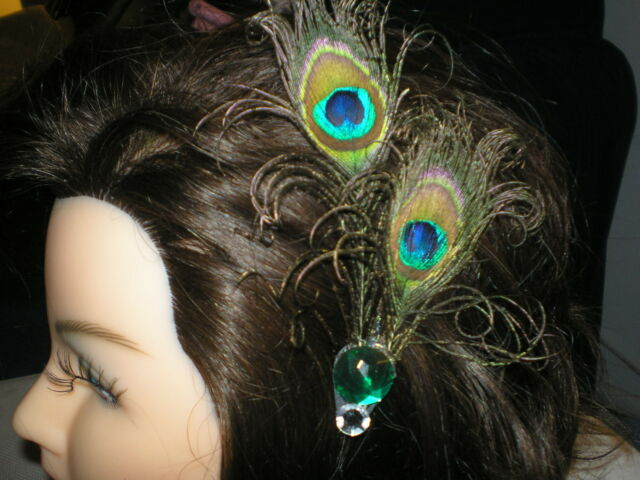 TWO CURLY PEACOCK EYES HAIR CLIP BARRETTE
