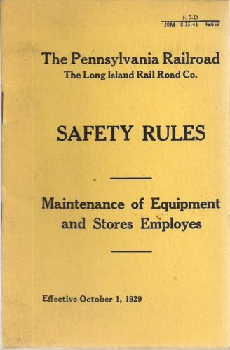 PENNSYLVANIA LONG ISLAND RAILROAD Safety Rules pocket handbook effective 1929