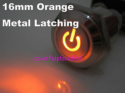 1pcs, 16mm 12V Orange Led Push Button Metal ON-OFF Switch For Car Boat Motor New