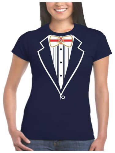 Ladies Tuxedo T Shirt England St Georges Flag /& Dragon Bow Fancy Dress Womans