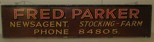 VINTAGE-FRED-PARKER-NEWSAGENT-STOCKING-FARM-UK-PAINTED-STORE-ADVERTISING-SIGN