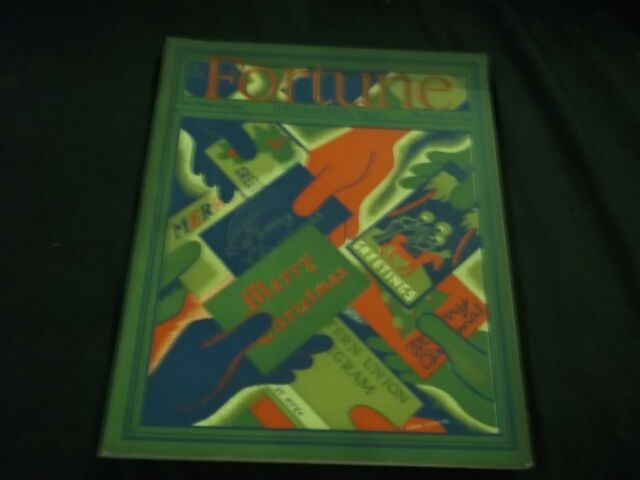1936 DECEMBER FORTUNE MAGAZINE - BEAUTIFUL ILLUSTRATED FRONT COVER - G 575