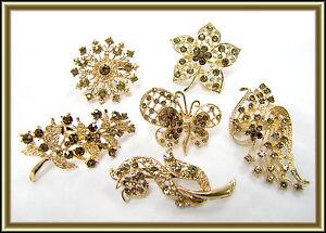 6-pc-WHOLESALE-LOT-Brown-Bing-Rhinestone-Gold-Tone-BROOCH-PIN-Wedding