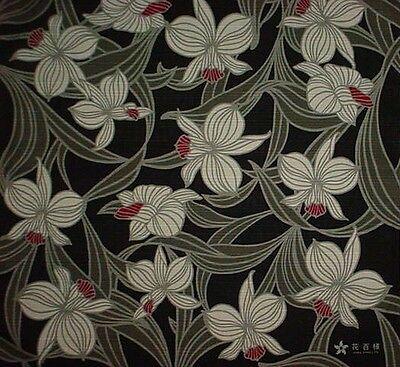 Furoshiki Japanese Fabric 'Black Orchid' Motif Cotton 50cm