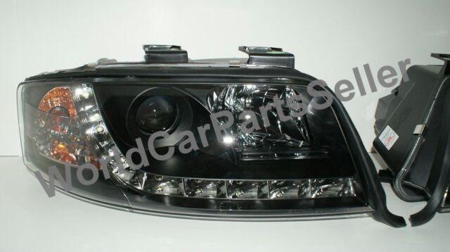 1998-2001 Audi A6 C5 DRL HeadLights BLACK Projector New